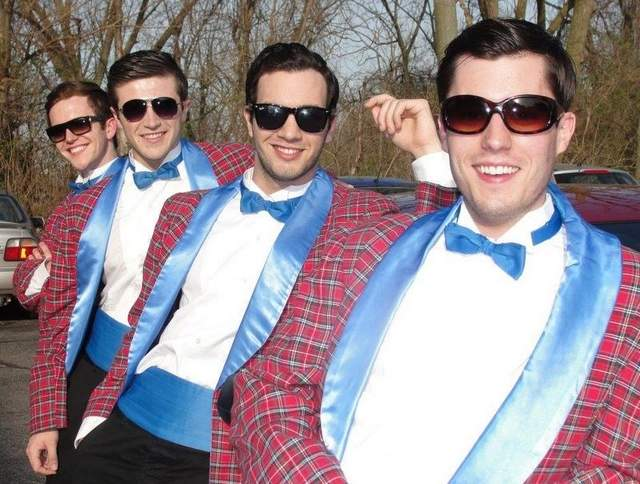 "Charlie Meredith, John Battagliese, Thomas Knapp and Tyler Huckstep in ""Forever Plaid"""