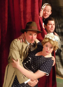 "(from top: Justin McCombs, Billy Chace, Nick Rose, and Miranda McGee in ""The 39 Steps"""
