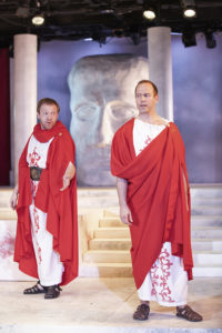 "John Katawick as Cassius and Brent Vimtrup as Brutus in ""Julius Caesar"""